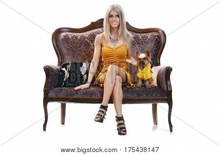 The young beautiful fashionable blonde girl with a cute little dog Yorkshire terrier