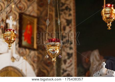 The altar of the church. interior. icon-lamp. cross.