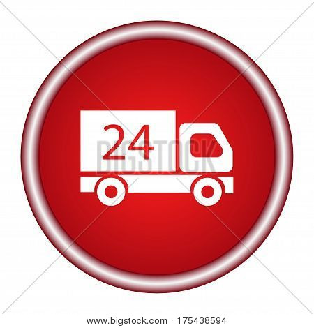 24H delivery truck icon. Internet button on red background.