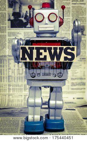 vintage news robot concept image