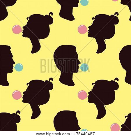 People blowing gum. Seamless vector wallpaper on yellow background