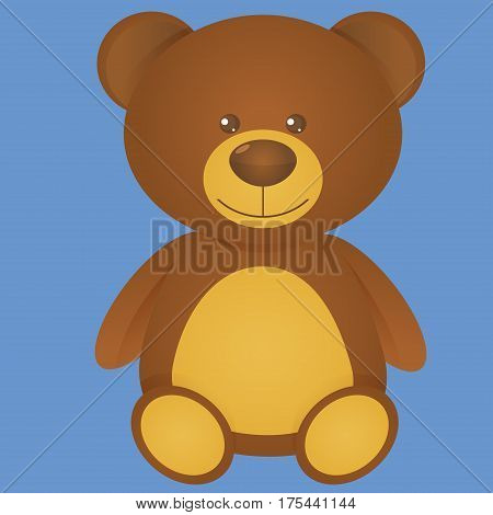 Brown Bear isolate on blue background, Teddy bear Clip Art, Cute bear, Bea Cartoon Character - Cartoon Clip Art