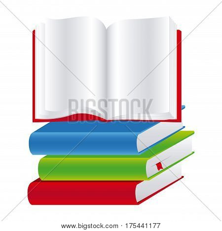 colorful set stack school books with open book vector illustration
