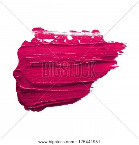 Pink lipstick smudged on a white isolated background