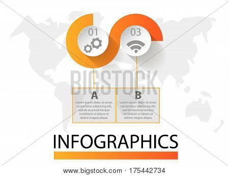 Infographics Circular Vector Banner Of 2 Steps. Vector Pattern Of Balls, Bubbles For Business Presen
