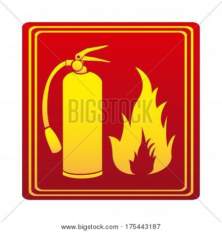 red color signal silhouette fire flame and extinguisher icon vector illustration