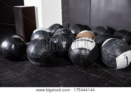 Medicine Balls Placed In An Empty Gym