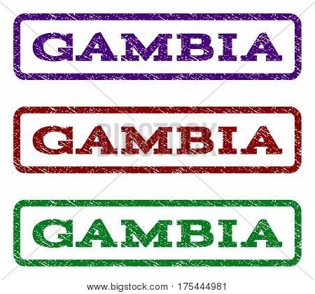 Gambia watermark stamp. Text tag inside rounded rectangle frame with grunge design style. Vector variants are indigo blue, red, green ink colors. Rubber seal stamp with dirty texture.