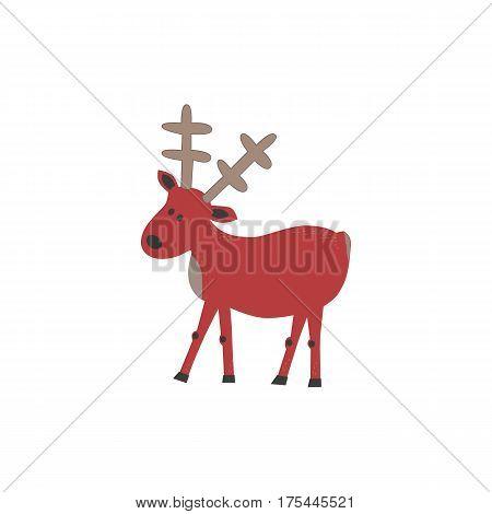 Animal based icon. Wild deer sign. Freehand drawn cartoon style. Creative vintage poster background. Horned reindeer symbol. Decorative vector illustration with elk. Wildlife retro banner element