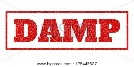 Red Rubber Seal Stamp With Damp Text. Vector Message Inside Rectangular Shape. Grunge Design And Scr