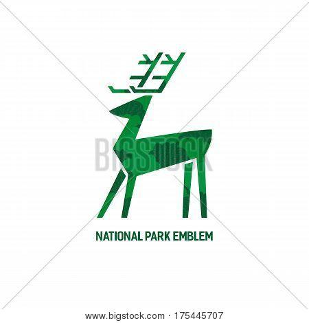 Animal based logo. Wild deer sign. Hand drawn design for national nature park emblem. Horned reindeer symbol. Decorative vector illustration with elk. Wildlife advertisement banner element