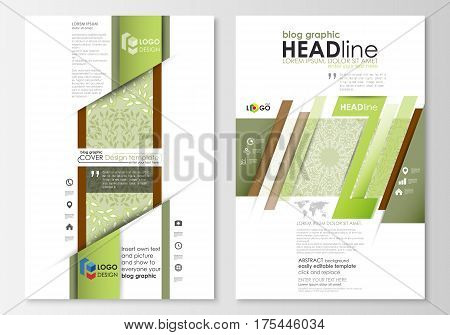 Blog graphic business templates. Page website design template, easy editable abstract flat layout, vector illustration. Green color background with leaves. Spa concept in linear style. Vector decoration for cosmetics, beauty industry.