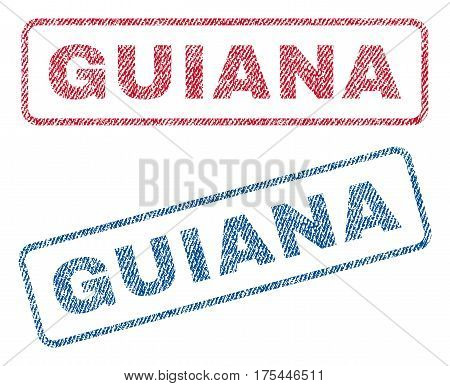 Guiana text textile seal stamp watermarks. Blue, red fabric vectorized texture. Vector tag inside rounded rectangular shape. Rubber emblem with fiber textile structure.