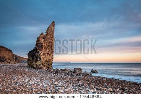 Sea Stack on Chemical Beach - Dawdon Chemical Beach got its name from the former Seaham Chemical Works and is located on the Durham coastline south of Seaham with its Magnesian Limestone Stack