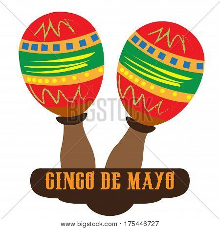 Isolated pair of maracas, Cinco de mayo vector illustration