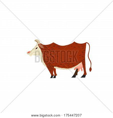 Domestic Animal icon. Dairy cattle sign. Freehand drawn cartoon style. Vector brown Milk cow symbol. Mammals element for poster background. Farming cow with udder, horns, hoofs illustration