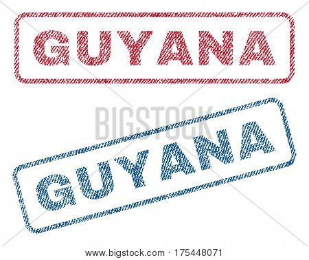 Guyana text textile seal stamp watermarks. Blue, red fabric vectorized texture. Vector tag inside rounded rectangular banner. Rubber sign with fiber textile structure.