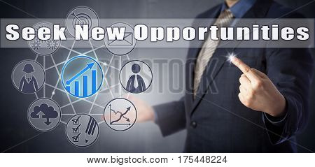 Male business coach in blue shirt and suit personal development trainer or recruiter recommending to Seek New Opportunities. Human resources management metaphor and career advancement concept.