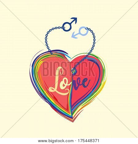 Gender diversity concept. Rainbow heart with lettering Love poster. LGBT community sign. Romantic card for men gay couple with male symbol. Same sexual orientation lovers vector illustration