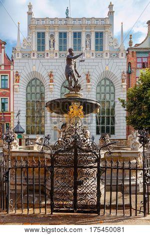 Neptune Fountain in the historic center of Gdansk.