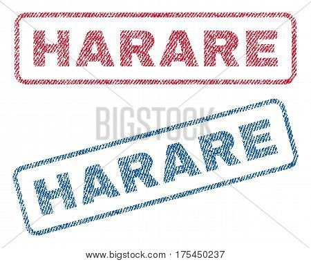 Harare text textile seal stamp watermarks. Blue, red fabric vectorized texture. Vector caption inside rounded rectangular shape. Rubber sticker with fiber textile structure.
