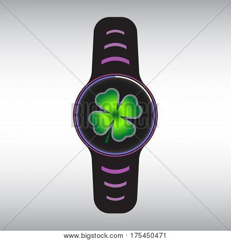 lack smart watch with green clover decor. Smart watch flat vector icon. Isolated smart watch sign.