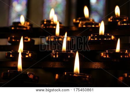 Candles Pray Meditation Background, Yellow Lights, Old