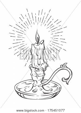 Hand Drawn Burning Candle In Vintage Candlestick With Rays Of Light Vector Illustration