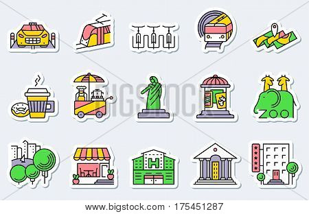 Locations and city icons set in line simple and thin style. Vector collection includes coffee cup with donut subway bicycle parking street food affiche cafe facade hospital and official building park