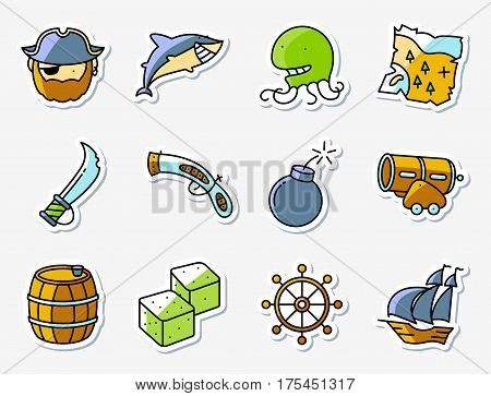 Pirate and criminal icons set in line art minimalistic thin and simple style. Vector collection illustration of shark helm octopus vintage gun and blade old map rum barrel devil's bones сannon ship