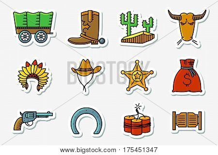 cowboy and western icons set in line art minimalistic thin and simple retro style . Vector collections with Hats Indians and cowboys cactus sheriff star vintage pistol dynamite bull horseshoe and chaise