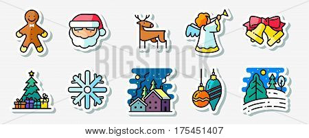 Winter Christmas holidays icons stickers set colored thin simply line art style pictogram. Pine tree with gifts winter night snowy landscape decorations Santa angel deer and Gingerbread characters
