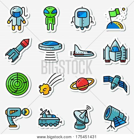 Vector space icons set. Thin simply Stickers with technology and expedition UFO and alien robot astronaut shuttle rocket radar comet planet telescope blaster satellite in cute minimalistic style