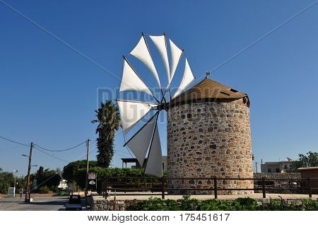 Antimachia village and windmill,on island Kos in Greece