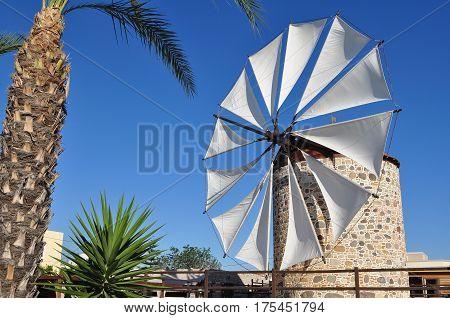 Antimachia village and windmill,on island Kos in Greece