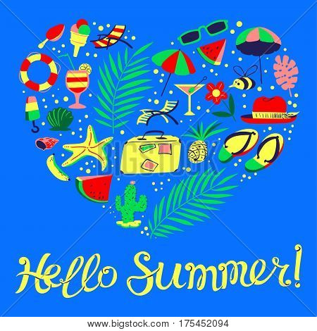 Summer objects set in heart silhouette. Hello Summer lettering composition. Background with beach holidays travel vacation resort stuff. Vector illustration for seasonal cards posters t-shirts in cartoon style