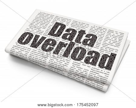Data concept: Pixelated black text Data Overload on Newspaper background, 3D rendering