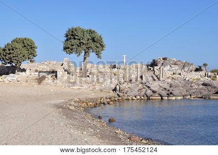 seacost of island Kos in Castri,archeological site,