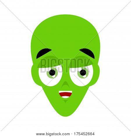 Ufo Happy Emoji. Green Alien Face Laughs Emotion. Martian Avatar