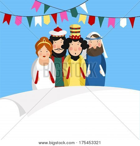 Chag Purim Sameach holiday greeting card for the Jewish festival. Hand drawn queen Esther, king Ahasuerus, Haman and Jew Mordecai.