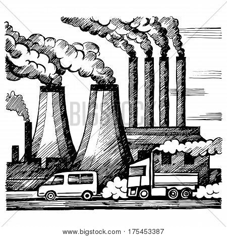 Ecology air and atmosphere pollution emission of harmful gases industry and cars vector sketch