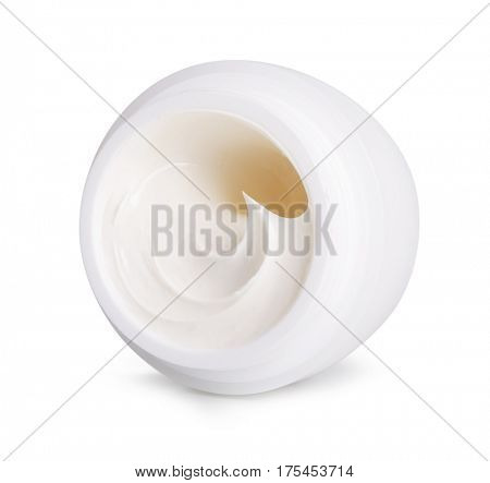 Jar with cosmetic cream. Isolated on white background