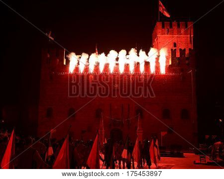 Marostica, Vi, Italy - September 9, 2016: Medieval Castle With T