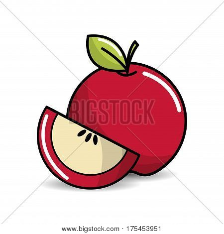 apple fruit icon stock, vector illstration design image
