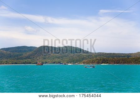 The Gulf of Thailand Thailand May 16 2013: The ships that dropped their anchors next to one of the islands of Thailand.
