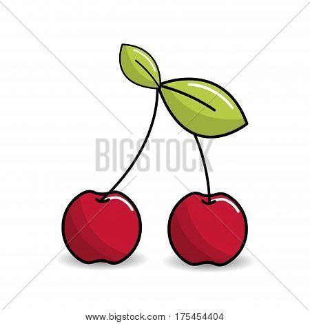 cherry fruit icon stock, vector illustration design image