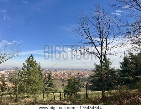 View from atop the Colle della Guardia over the city of Bologna, Italy