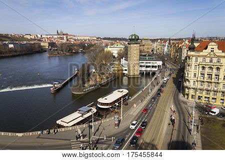 Prague, Czech Republic - March 3: Restaurant Boat Anchored In Front Of Manes Exhibition Hall With Hr