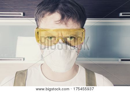 Worker Face Protected By Glasses And Mask