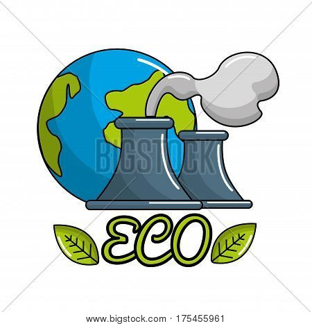 save planet of pollution factories icon, vector illustration design